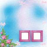 Wooden frame for photo with pink orchids. And green fern Stock Photography