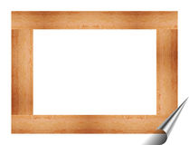 Wooden frame for pictures and paintings. Rectangular frame for pictures and paintings with texture of wood with a folded corner on a white background vector illustration