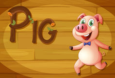A wooden frame with a pig Stock Photography