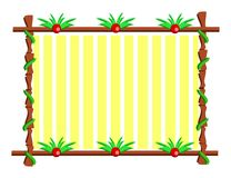 Wooden Frame with Plants and Stripes Stock Images