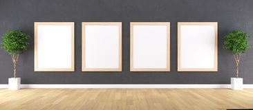 Wooden Frame with Poster Mockup royalty free stock photo