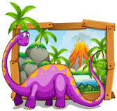 Wooden frame with purple dinosaur in jungle Royalty Free Stock Photos