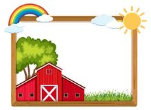 Wooden frame with red barn and rainbow. Illustration Royalty Free Stock Photography