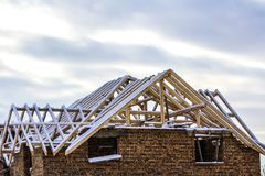Wooden frame of the roof during construction works on a new hous. E Royalty Free Stock Images