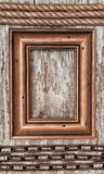 Wooden frame, rope and metal chain on the old wood Stock Photo