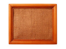 Wooden frame with sacking isolated on the white Stock Photo