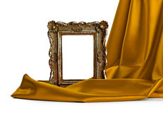 Wooden frame and silk cover Stock Photos