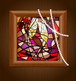 wooden frame and stained glass with champagne Stock Image