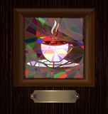 wooden frame and stained glass with cup of coffee Stock Photo