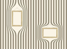 Wooden frame on striped wallpaper. Vector Royalty Free Stock Photography