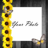 Wooden  frame with sunflowers Stock Photos