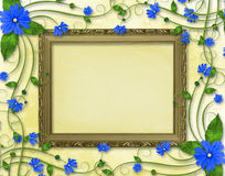 Wooden frame in the Victorian style. With blue flowers Royalty Free Stock Images