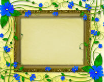Wooden frame in the Victorian style. With blue flowers Stock Photos