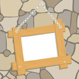 Wooden frame on the wall Stock Photography