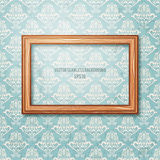 Wooden frame on the wall. Vintage background Stock Photo