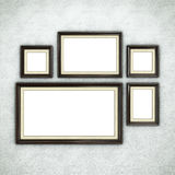 Wooden frame on wallpaper Royalty Free Stock Photos