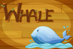 A wooden frame with a whale Royalty Free Stock Photos