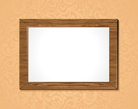 Wooden frame with white background Stock Images