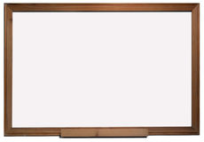 Wooden frame white board. With pure isolated white area Royalty Free Stock Photo