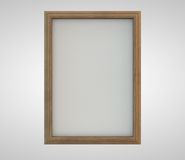 Wooden Frame. With white empty canvas. Clipping path included for easy selection Royalty Free Stock Image