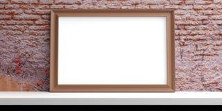 Wooden frame on a white shelf. 3d illustration. Wooden frame on a white shelf - brick wall background. 3d illustration Stock Photos