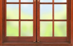 Wooden frame for a window with frosted glass. Background Royalty Free Stock Images