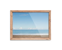 Wooden frame window with view of blue sky Stock Photos