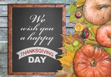 Wooden frame and we wish you a happy thanksgiving day. Close Stock Photography