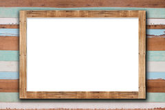 Wooden frame on wood wall Royalty Free Stock Photo