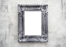 Wooden frame. On the wall with space for design, photo, text,  mock-up or template Stock Photography