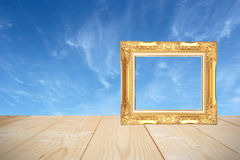 Wooden frame with wooden planks and Blue sky background. Royalty Free Stock Image