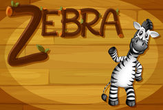 A wooden frame with a zebra Royalty Free Stock Images