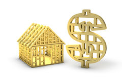 Wooden framed dollar and house Royalty Free Stock Image