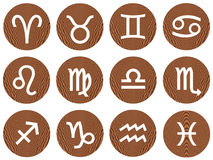 Wooden Framed Zodiac Signs. Isolated in white Stock Photo