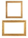 Wooden frames. Two golden vintage wooden frames isolated on white Stock Photo