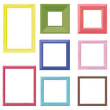 Wooden frames color set. Set of eight wooden frames different colors Stock Photography