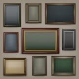 Wooden frames on dark Royalty Free Stock Photos