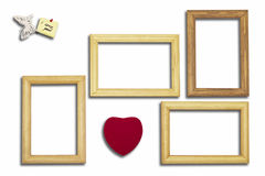 Wooden frames, heart and an inscription with the butterfly on a Stock Images