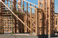 Wooden frames on house construction Royalty Free Stock Images