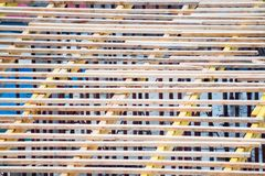 Wooden frames and metal reinforcement at new building construction site. View of timbering and reinforcenent at a construction site of appartment building stock image