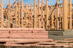 Wooden frames of newly build house Royalty Free Stock Image