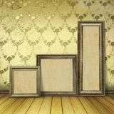 Wooden frames in the old room Royalty Free Stock Photo