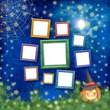 Wooden frames for photo with pumpkin and flowers Stock Image