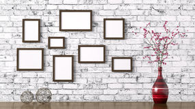 Wooden frames and shelf interior background 3d rendering Royalty Free Stock Images