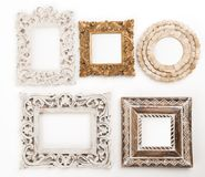 Wooden frames on the wall Stock Images