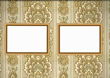 Wooden frames on wallpaper Stock Images