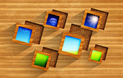 Wooden frames on wood background with square cavities Royalty Free Stock Image