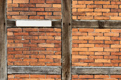 Wooden framework front. Old wooden framework front with a blank sign Royalty Free Stock Images