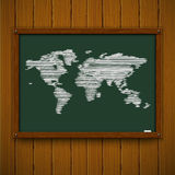 Wooden framework with world map Stock Photography