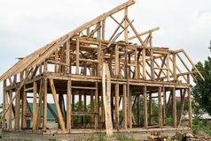 Wooden framing of the new house. Wooden framing of the new residential house royalty free stock images